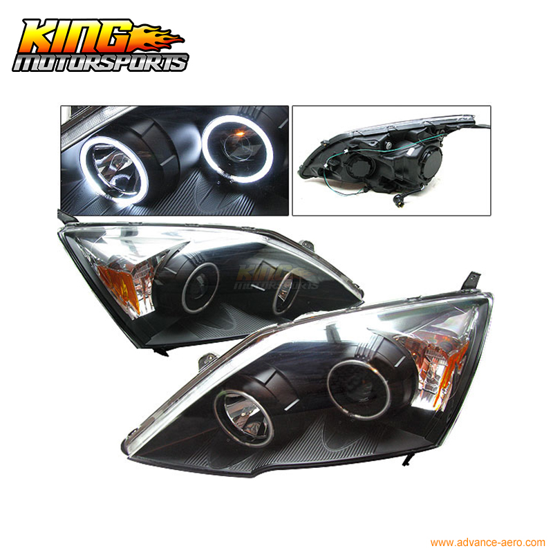 For 2007-2008 Honda CR-V CCFL Halo Projector Headlights Black USA Domestic Free Shipping