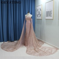 Sparkling Rose Gold Mermaid Arabic Prom Dresses with Detachable Long Sleeves Court Train Catwalks Pageant Dress Evening Gowns