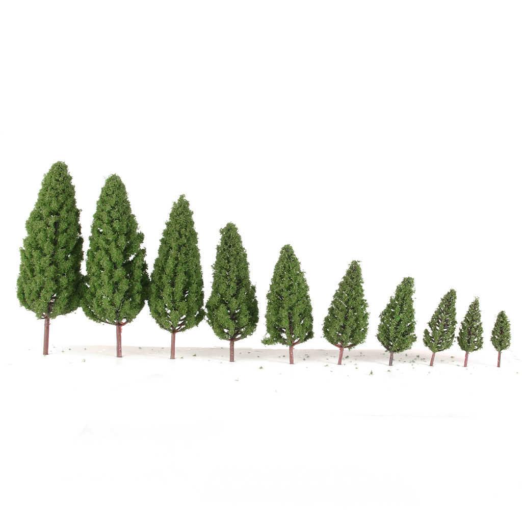 MagiDeal 20 piezas escala 1/50-400, árboles en forma de torre de plástico, modelo de tren ferroviario, paisaje del tren para la decoración de la casa de muñecas