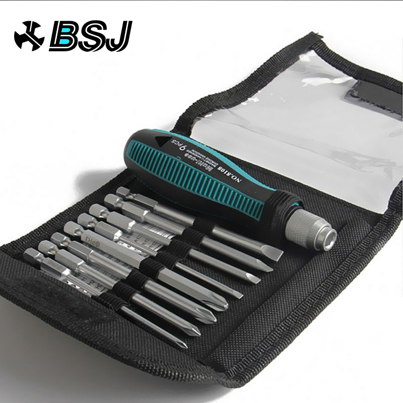 9Pcs set Precision Screwdriver Set 1 4 quot 6 35mm Slotted Bits With Magnetic Multitool Home Appliances Repair Hand Tools shanks in Screwdriver from Tools