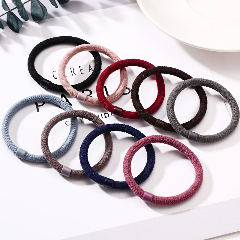 New 9PCS/Lot Women Solid Flocking Crude Rubbre Bands Tie Gum For Hair Ponytail Holder Hair Bands Lady Headbands Hair Accessories