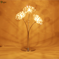 Nordic Lustre Dandelion Led G4 Led Table Lamp Chrome Metal Lustre K9 Crystal Bedroom Deco Led Luminaire Lighting Fixtures