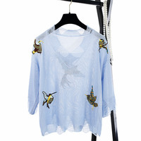 SRUILEE Desing Lolita Bird Embroidery T shirt 2018 New Summer Jumper Women Sweater Hollow Out Pullovers Knit Tops Runway Tees