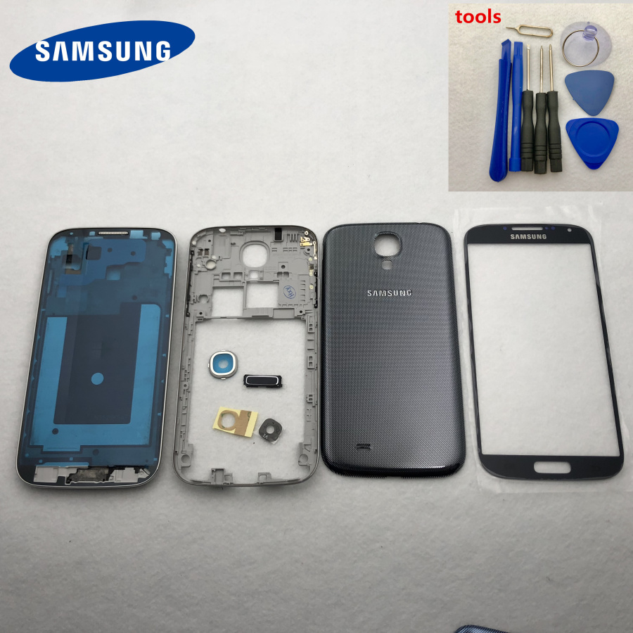 Full Housing Case Middle Frame+Back Cover+Glass Lens+Button Replacement Parts For Samsung Galaxy S4 i9500 i9505 9500 i337 +Tools-in Fitted Cases from Cellphones & Telecommunications