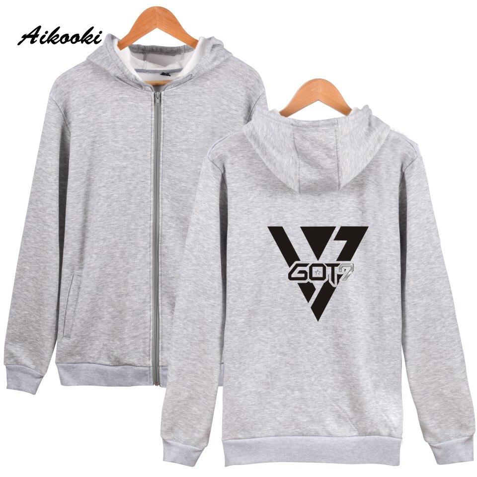 Aikooki Men Women Fashion GOT7 Zipper hoodies Men/Women New Brand Design Cotton Sweatshirt Hoodies Zipper Hot TEAM GOT 7 Clothes