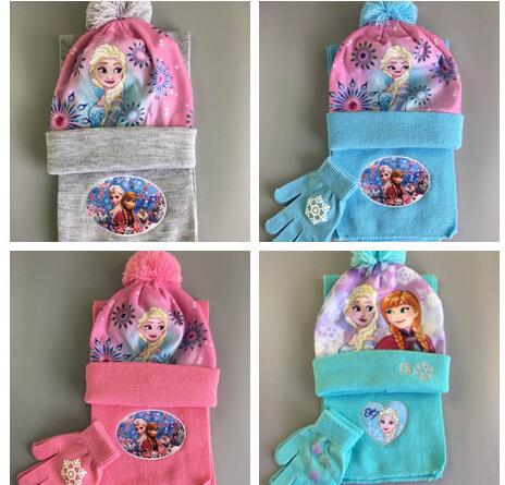 1set Cartoon Princess Knit Beanie Hat Children Christmas Winter Knitted Scarf Gloves Hat Set Party Kids Gifts 2-8Y