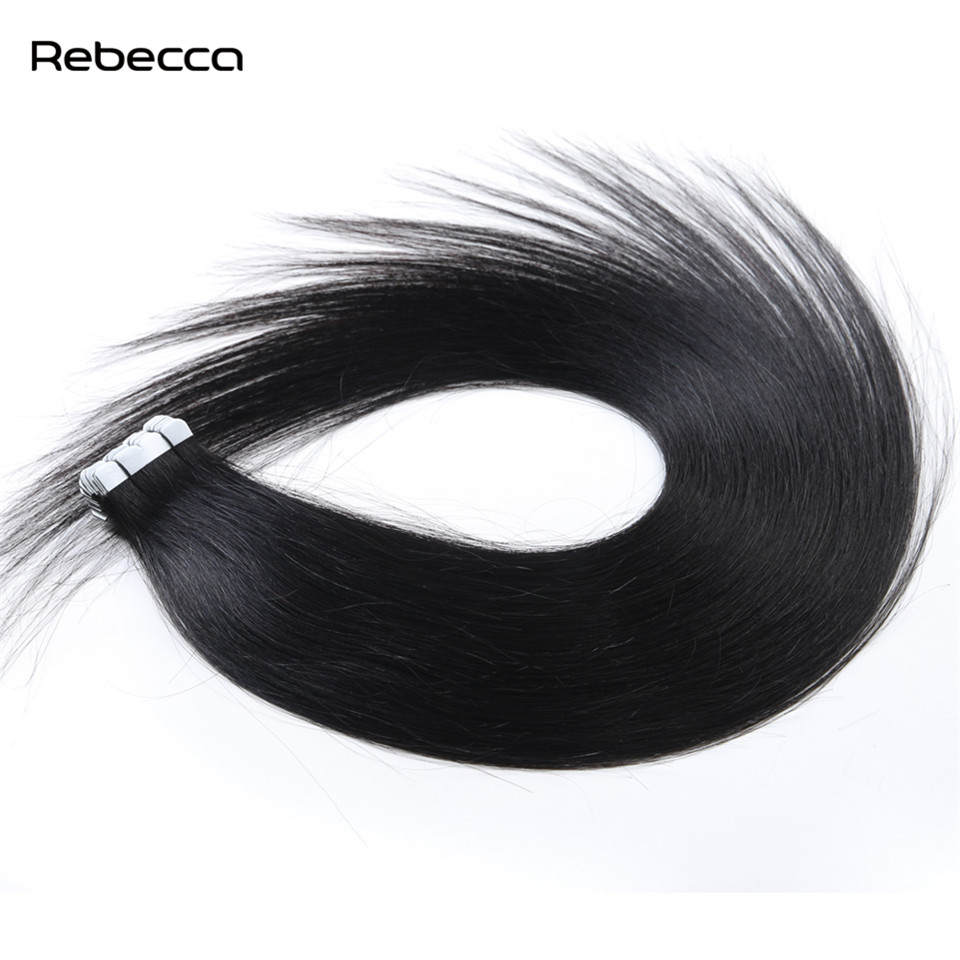 Rebecca Hair Natural Black Color Brazilian Remy Straight Hair Bundles Tape In Human Hair Extensions 20pcs