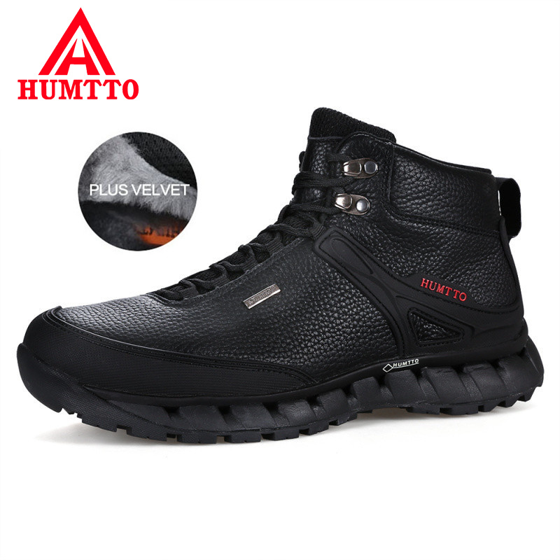 HUMTTO Winter Genuine Leather Boots Men Keep Warm Fluff Work Safety Shoes Mens Lace-up Waterproof Luxury Brand Man Ankle Boots diesel diesel dz7257