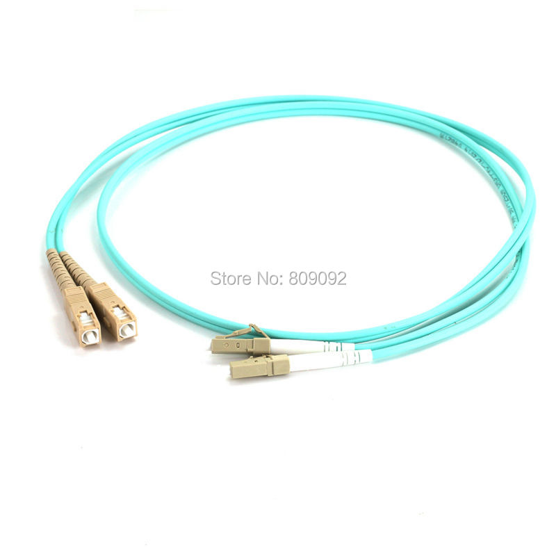 High quality 1M LC-SC DUPLEX Multimode 10 GIGABIT 50/125 MULTIMODE FIBER OPTIC CABLE OM3 PATCH CORD Jumper Cable 106126 1300[fiber optic connectors lc dup adpt zr slv fiber mr li