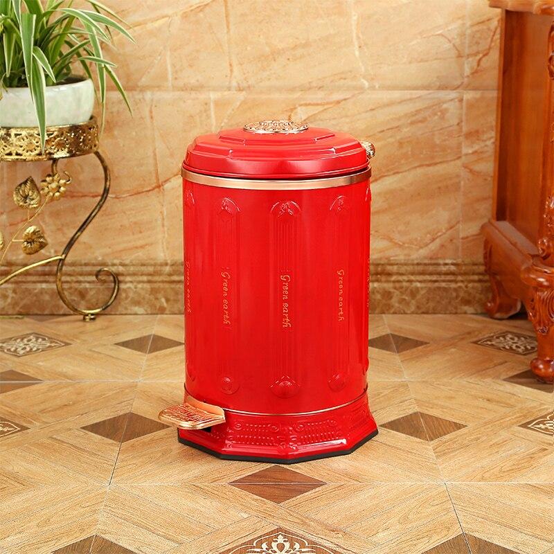 Европейский красный цвет металла нержавеющей стали мусорное ведро с педалью для мусора корзины trash для домашнего декора LJT002D
