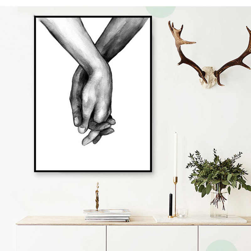 Nordic Frameless Black And White Canvas Lover For Living Room Decorative Painting Holding Hands Wall Art Poster 1PC