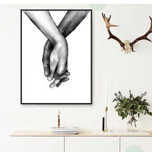 Nordic Frameless Black And White Canvas Lover For Living Room Decorative Painting Holding Hands Wall Art Poster 1PC(China)