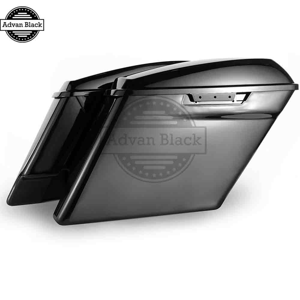 AdvanBlack Vivid Black Extended Stretched Saddlebag  For 2014-2017 Harley Street Electra Road Glide FLHR Ultra Classic