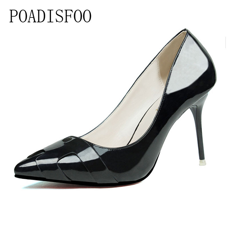 POADISFOO 2018 women pumps Fashion Thin High Heel Pointed Solid Color Patent Leather H Shallow ladies Shoes .ZWM-6089-2 p23128 women patent leather thin heel pumps elegant pointed head stiletto fashion simple style ladies heeled shoes size 33 42