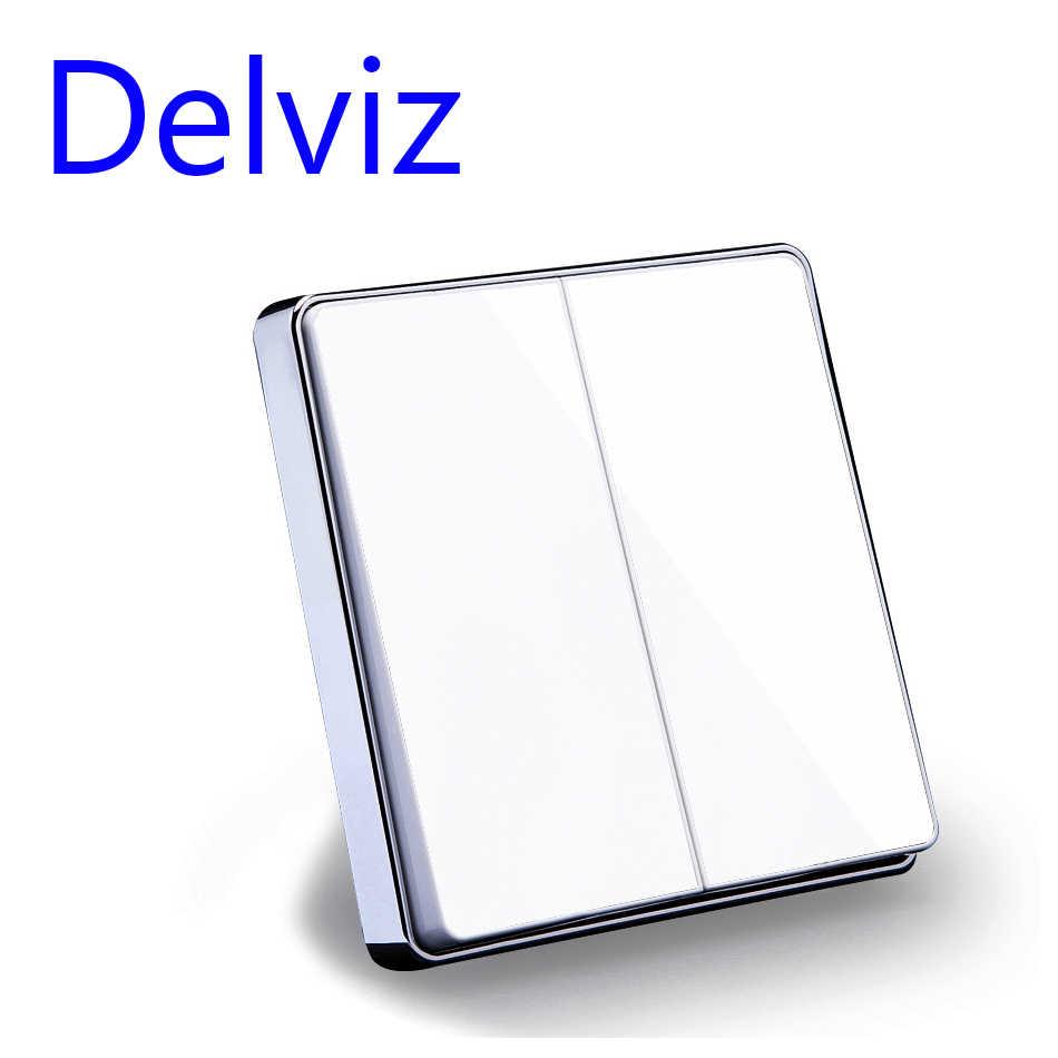 Delviz ЕС стандартный Роскошный белый/черного цвета с украшением в виде кристаллов Стекло Панель, 16A 250 V, две банды, 2 варианта кнопка Home настенный выключатель Великобритания выключатель питания