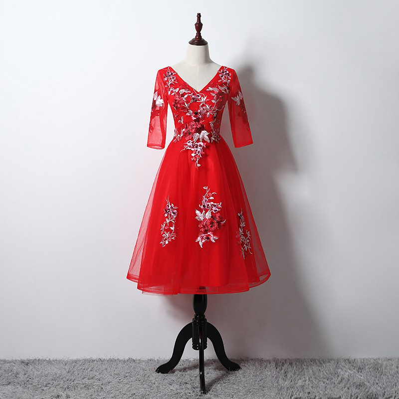 Graduation gown banquet 2019 Red new Embroidery summer Half Sleeves party   dress   for birthday Slim Short   Bridesmaid     Dresses