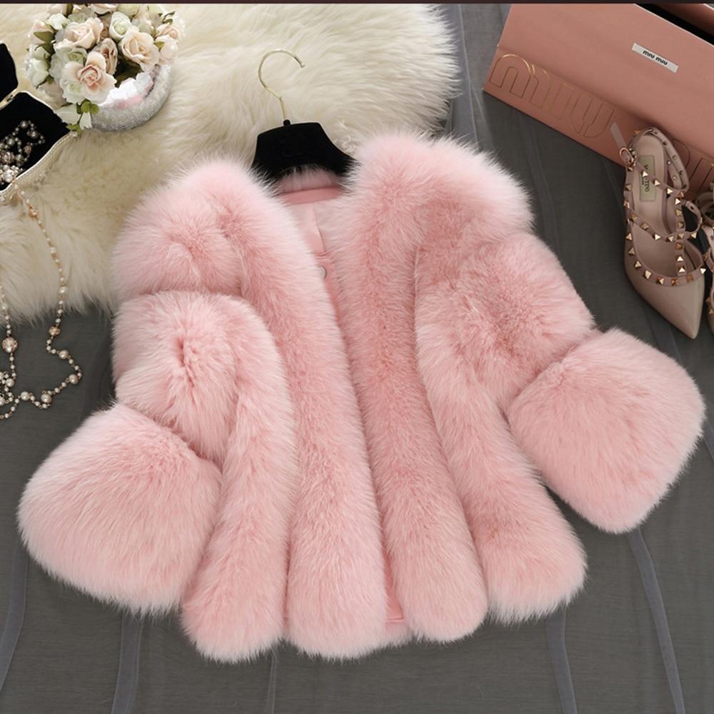 NOUVEAU Design 2016 Hiver Mode Femme Manteau De Fourrure Couleur Unie Chaud Neige Parka De Faux Fourrure Femme En Fausse Fourrure outwears pardessus