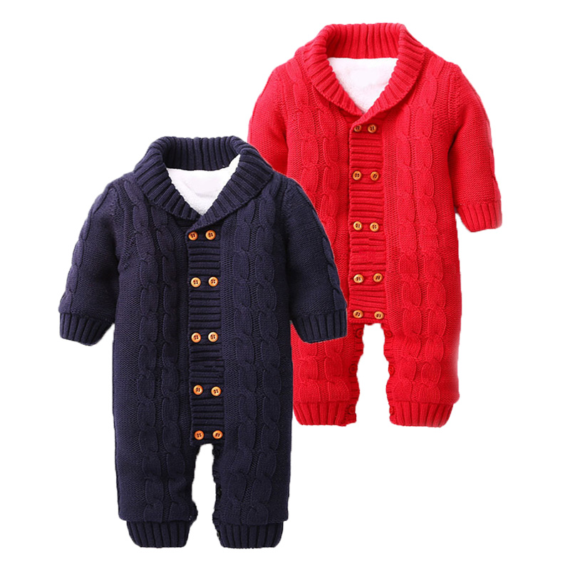 2018 Winter Baby   Romper   Boys Girls Jumpsuit Winter Coveralls Jersey Soft Hooded Warm Knitted Thicken Infant Baby Clothes Outfits
