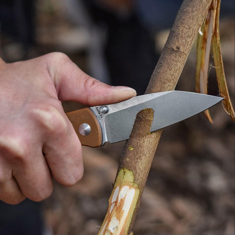 Купить с кэшбэком TANGRAM Folding Knife Survival Pocket Knife Tactical Japan Acuto440C Every Day Carry EDC Handle Material G10 AZO Santa Fe TG3002