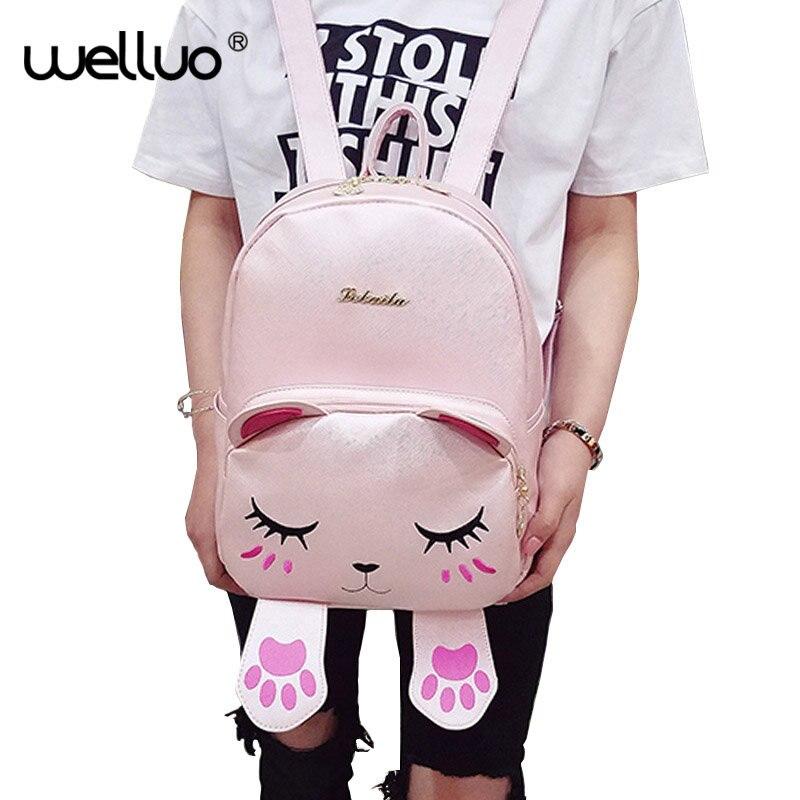 Hot Brand Lovely Cat Leather Backpack Women Shoulder Bags School Teenage Girls Travel Laptop Bagpack Mochila