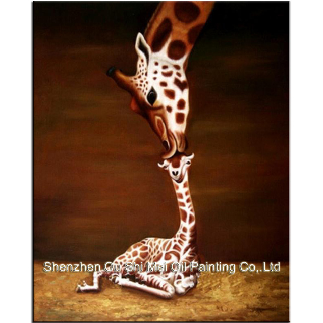 100% Handpainted Oil Paintings Wall Picture Animal Oil Painting on Canvas Giraffe Mother And Baby Wall Art for Home Decoration