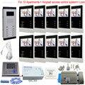 Клавиатура Rfid видео домофоны системный блок с CCD дверной Звонок камера Цвет 10 экранов с электронной блокировкой комплект для 10 квартиры