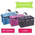 New 1pc multi colors option Storage basket Aluminum Frame Folding Picnic Baskets Foldable Shopping cooler basket 46x28x24cm