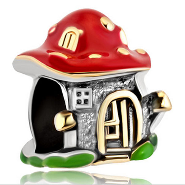 Slide beads Plated charm bracelet beads color elf castle. Suitable for Pandora charm bracelet beads for jewelry making