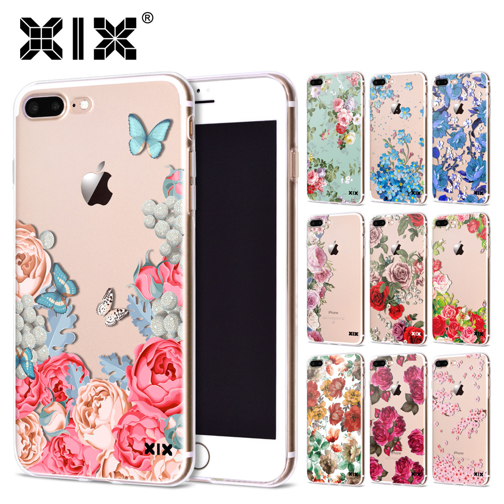 XIX for Funda iPhone 5S case 6 8 X Rose Flowers Soft Silicone TPU for Cover iPhone 6S Case New Arrivals for Coque iPhone 7 Case
