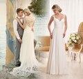 New Amazing Long Beach Wedding Dresses 2017 Sweetheart Neck Cap Sleeve Sweep Train A-Line Lace/Chiffon Wedding Gowns Vestidos