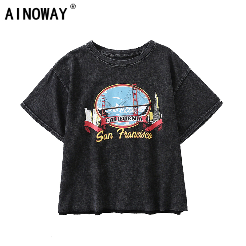 332aa3cb5 Detail Feedback Questions about Vintage fashion Women harajuku old washed o  neck T shirt Fashion Crop Top print Cotton Tops nice short sleeve T Shirt  on ...