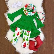 Xmas Kids Children Baby Girls Christmas Long Sleeve T-shirt Tops + Tree Printed Pants Leggings +Headband Outfits Clothes
