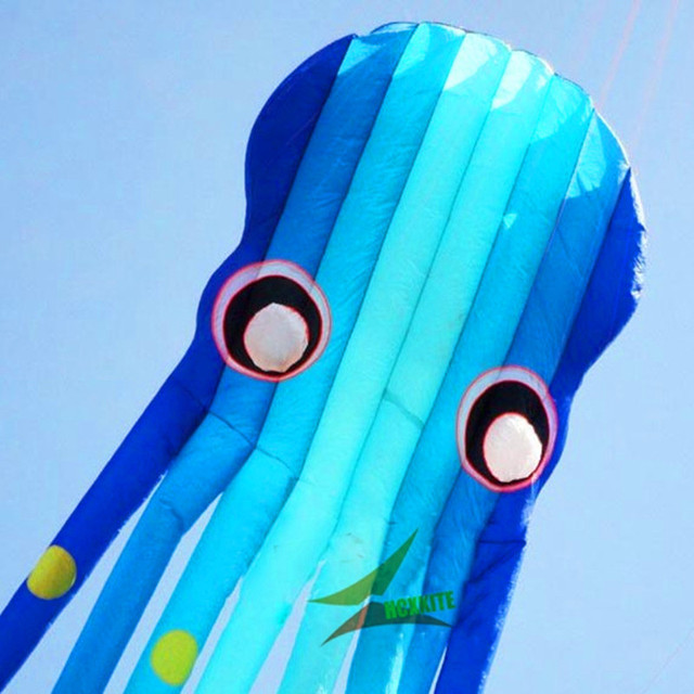 free shipping high quality soft kite blue octopus kite ripstop nylon kite reel walk in sky weifang kite surfing albatross toys