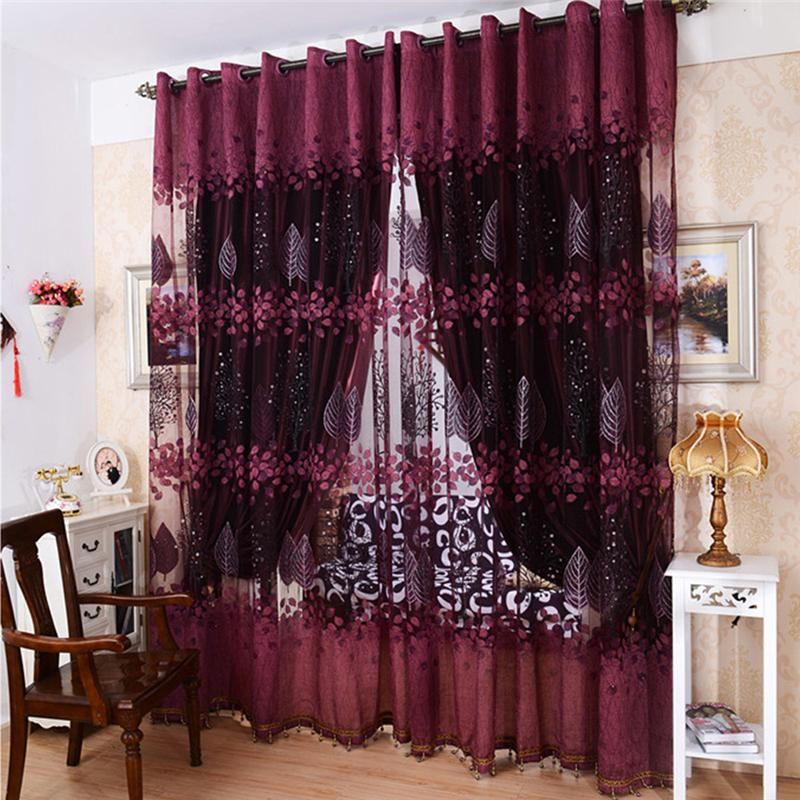 Mordern room floral tulle window curtain curtain for M s living room curtains