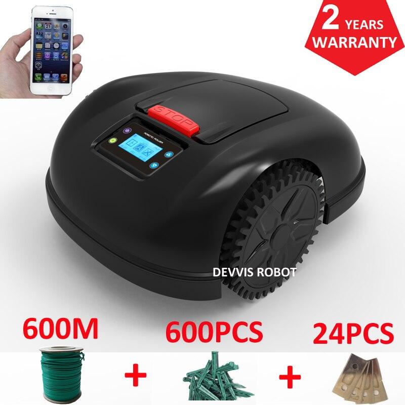 Smartphone APP Contorl Robot Jardim Mower Com 13.2AH Bateria Li-ion + 600 m de fio + 600 pcs estacas + 24 peças Lâmina