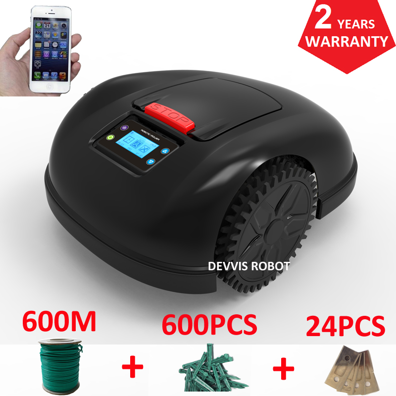 Smartphone APP Contrôle Robot Tondeuse de Jardin Avec 13.2AH Li-ion Batterie + 600 m fil + 600 pièces chevilles + 24 pièces Lame
