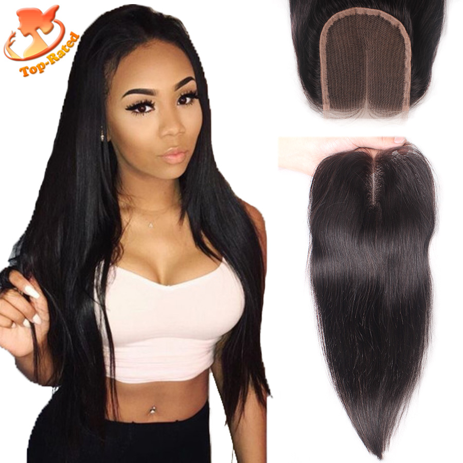 Peruvian Straight Lace Closure Bleached Knots Free Middle