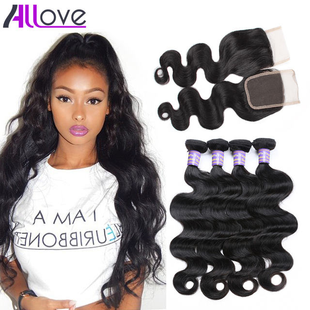Grade 7A Peruvian Body Wave With Closure Human Hair 3 bundles With Closure Peruvian Virgin Hair Body Wave With Closure