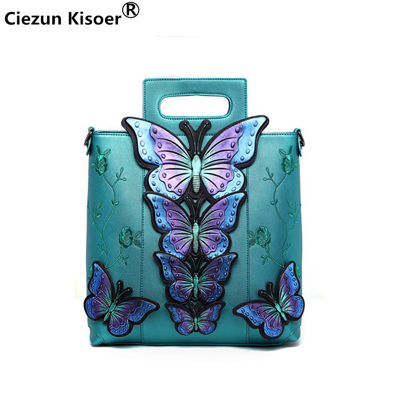 women handbags 2018 New female bag large bag fashion casual style butterfly embroidery handbag ladies painted shoulder bag 2018 women leather handbags new female rose flower ladies handbag korean fashion casual shoulder bag large flower messenger bag