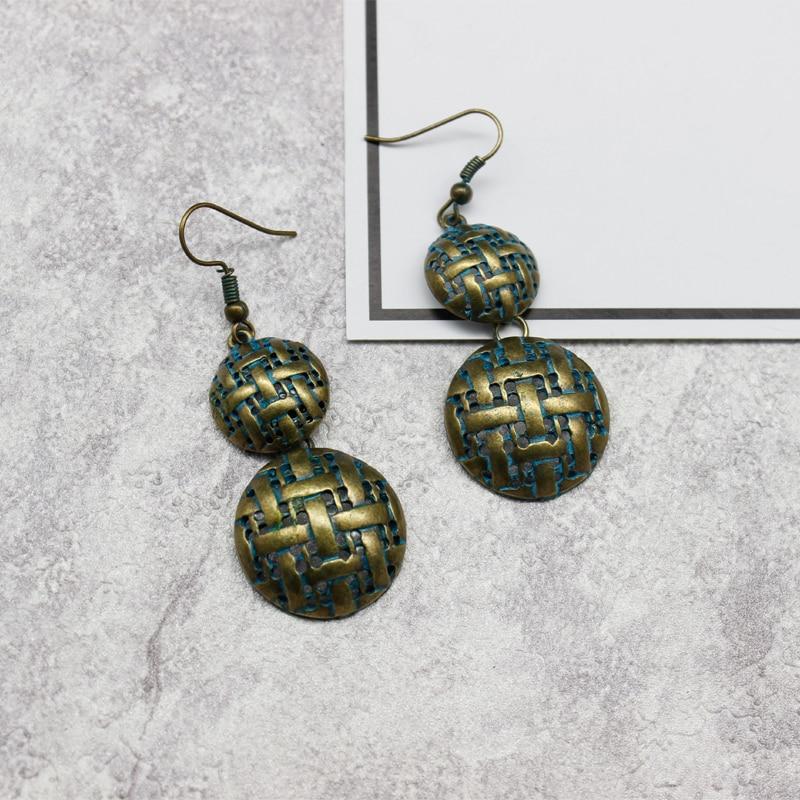 Green Bronze Fabric Shape Earrings Antique Rustic Textured Bohemian grampos Drop Earrings Brincos Para As Mulheres