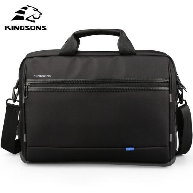 Kingsons Homens Laptop saco Messenge 15.6 polegada bolsa masculina viagem Bolsas de Ombro Bolsa Crossbody Preto