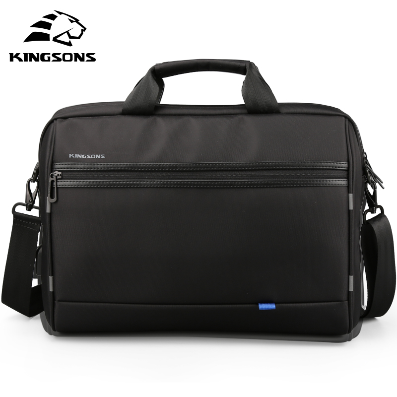 Kingsons Men Laptop Messenge bag 15.6 inch travel Shoulder Bags Crossbody Handbag Black bolsa masculina-in Crossbody Bags from Luggage & Bags    1