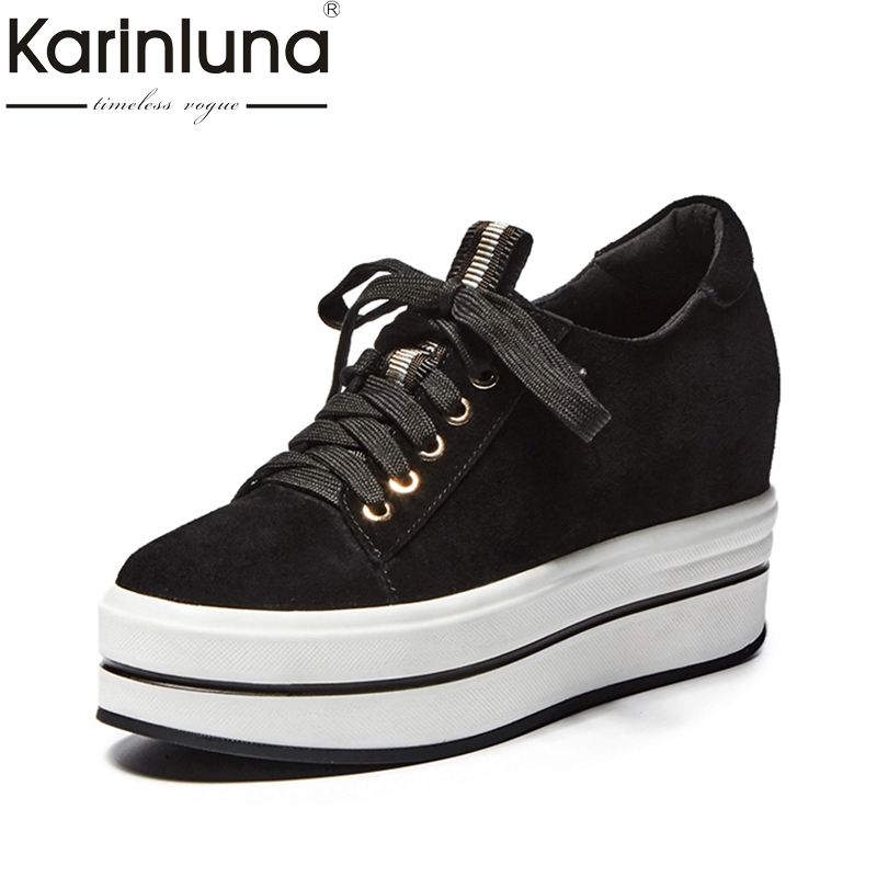 KarinLuna Brand New Top Quality Cow Suede Thick Bottom Flat Platform Shoes Women Fashion Spring Casual Woman Shoes Footwear women s shoes 2017 summer new fashion footwear women s air network flat shoes breathable comfortable casual shoes jdt103