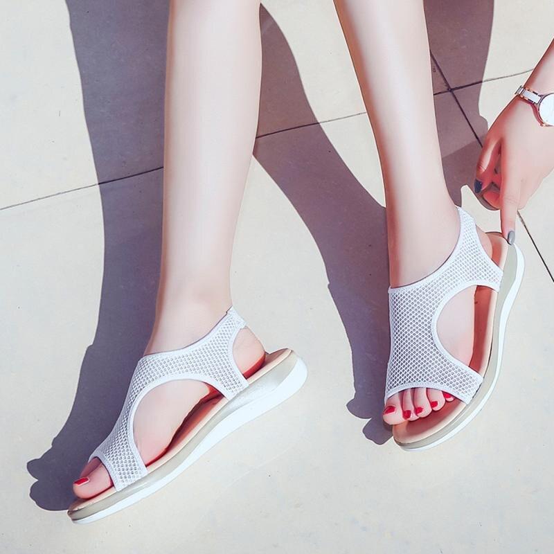Las Tamaño rojo Deslizamiento Mujer Plano Más 42 rosado ~ Talón Anti Zapatos Roma Azul blanco Verano Sandalias 36 Mujeres Transpirable Playa De xw0vIqR5