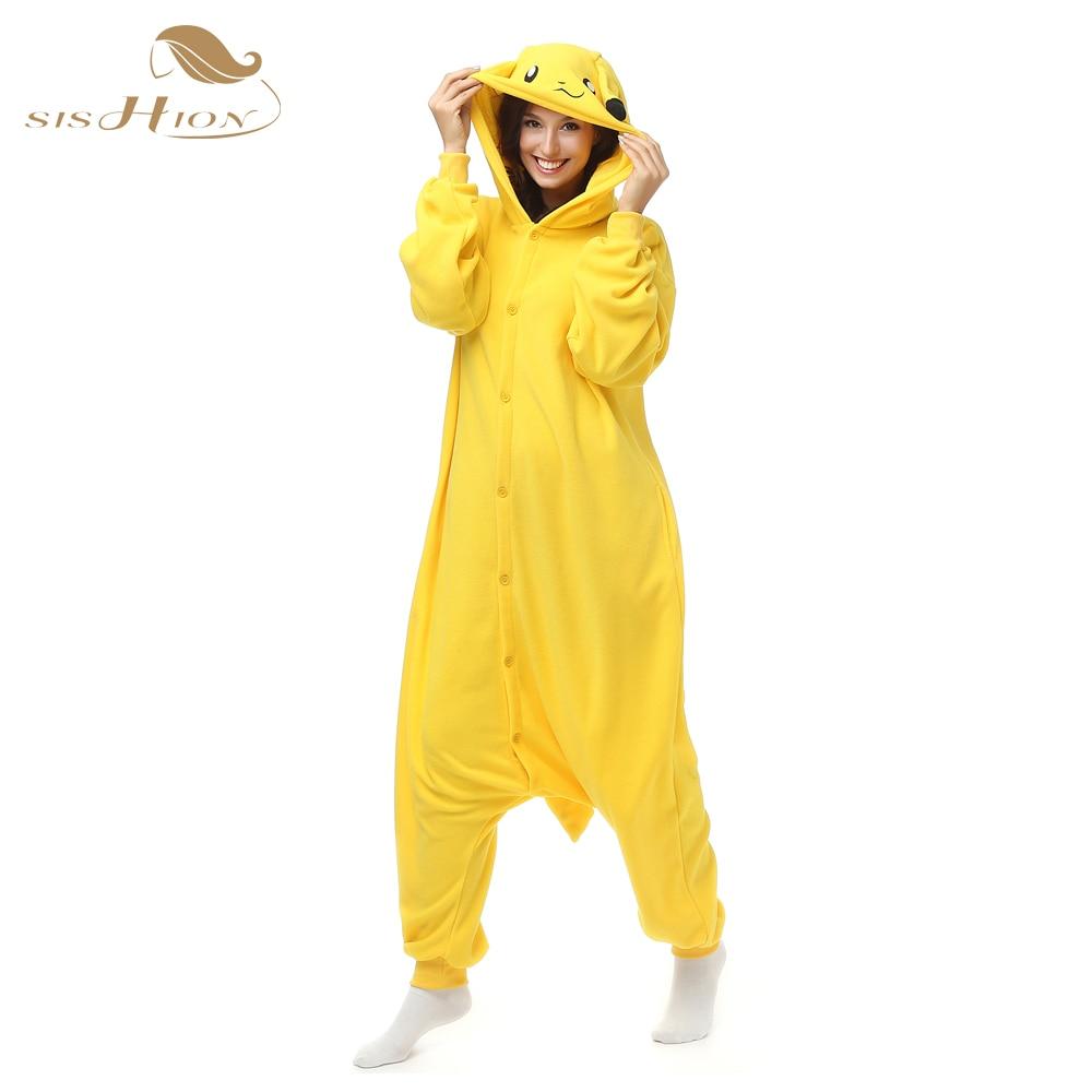 SISHION Christmas Pajamas Party Costumes Women Autumn Winter Yellow Cartoon Animal Onesie Fleece Sleepwear pyjamas Homewear 0010