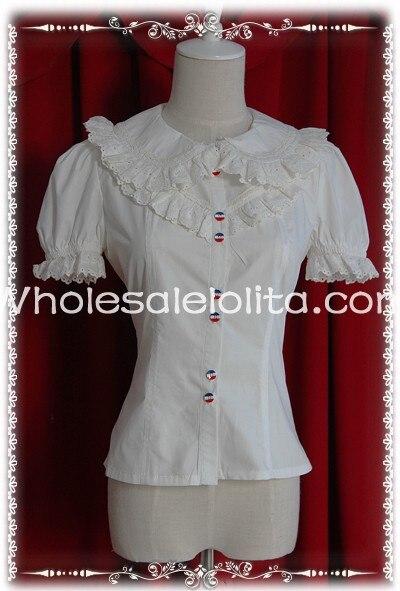 Ladies Beige/White Short Sleeves Cotton Lace  Blouse Lolita Blouse  Lolita Shirt Gothic Blouse