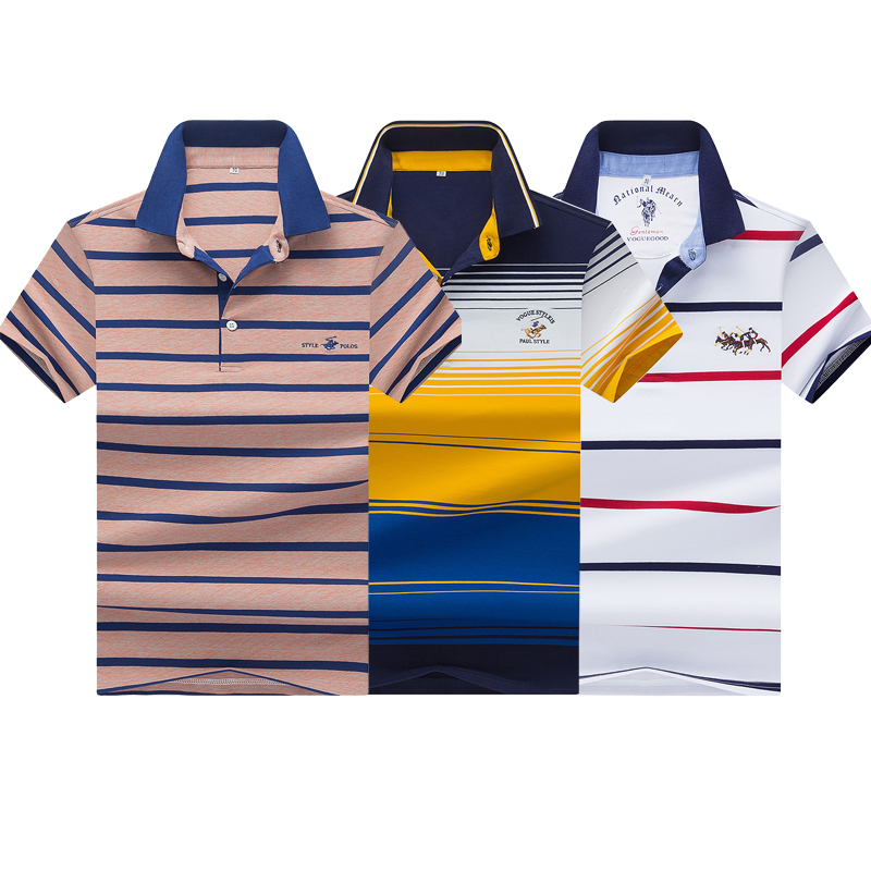 Tace & Shark brand embroidery   polo   shirt men high quality short sleeve 3D yachting casual striped men   polo   shirt para hombre