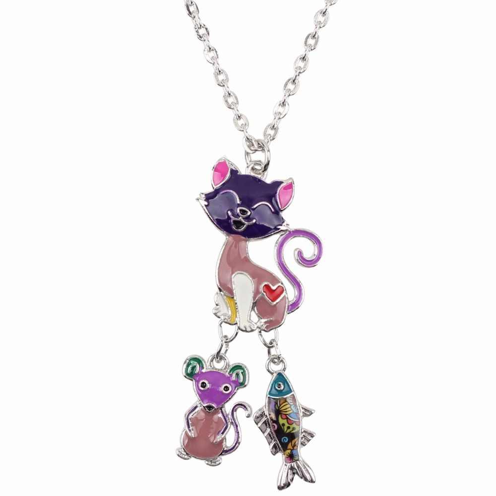 Bonsny Statement Chain Enamel CAT แผ่นปลาการ์ตูนสร้อยคอจี้ Fairy Tale Novelty เครื่องประดับสำหรับสาวของขวัญ Charms