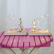 wooden Christmas elk decorative lighting party birthday wedding decoration luminous wooden pendulums Antique finish luminous decoration wedding party column lamp colorful colonne lumineuse of tower landscape lighting