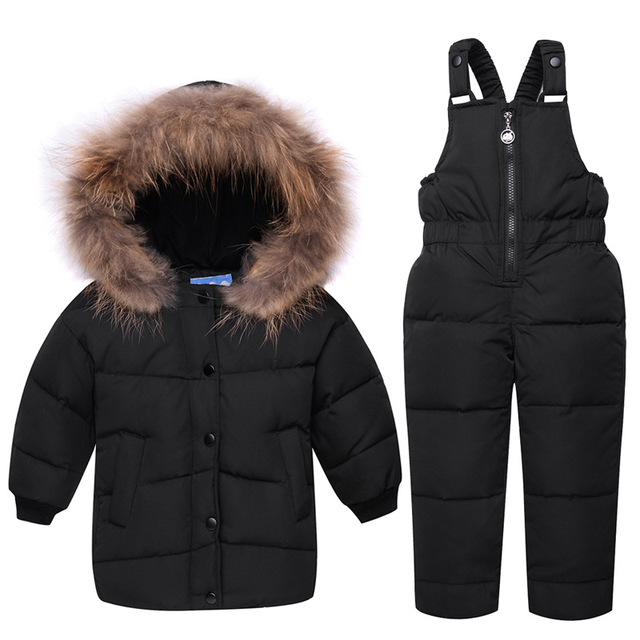 003ee78e8665 Winter Kid Baby Boy Girls Down Puffer Coat with Faux Fur Hooded + ...